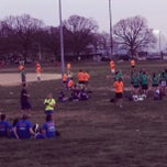Photo taken at Patterson Park Kickball by Tenley B. on 4/11/2013