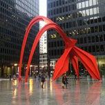 Photo taken at Alexander Calder's Flamingo Sculpture by Meredith E. on 4/11/2013