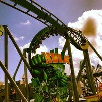 Photo taken at The Incredible Hulk Coaster by Jon B. on 4/11/2013
