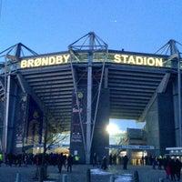 Photo taken at Brøndby Stadion by Tobias V. on 3/17/2013