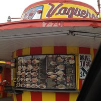Photo taken at Vaqueros Carne Asada Taco Shop by Elizabeth F. on 12/21/2012