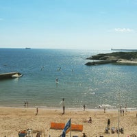 Photo taken at Cullercoats Beach by Richard L. on 8/8/2015