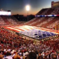 Photo taken at Gaylord Family Oklahoma Memorial Stadium by Christopher M. on 10/29/2012