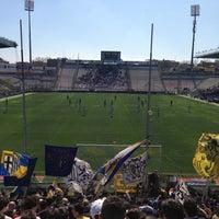 Photo taken at Stadio Ennio Tardini by Dario B. on 4/14/2013