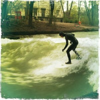 Photo taken at Eisbach Wave by Isaak L. on 4/21/2013