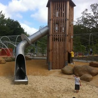 Photo taken at Woodland Discovery Playground @ Shelby Farms by Nilse F. on 7/30/2011