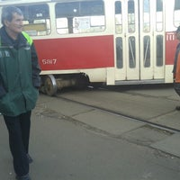 Photo taken at Трамвайна станція «Семена Скляренка»/Semena Skl'arenko tram station by Леночка К. on 9/25/2014
