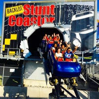 Photo taken at Backlot Stunt Coaster by John W. on 7/4/2016
