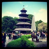 Photo taken at Biergarten am Chinesischen Turm by Joerg H. on 5/17/2012