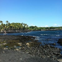 Photo taken at Punalu'u Black Sand Beach by Kristin on 12/25/2011