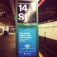 Photo taken at MTA Subway - 14th St (F/L/M) by Hazel S. on 8/25/2012