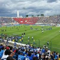 Photo taken at Estádio Joaquim Henrique Nogueira (Arena do Jacaré) by Gustavo M. on 3/25/2012
