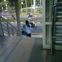 Photo taken at Halte TransJakarta Setiabudi Utara Aini by Andrew D. on 7/18/2012