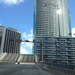 Photo taken at Brickell Ave Bridge by Travelista✈️ on 9/12/2012