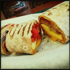 Photo taken at Bruegger's by Fiona B. on 7/18/2013