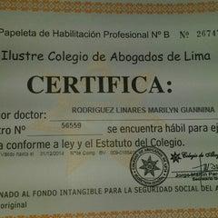 Photo taken at Colegio de Abogados de Lima by Giannina R. on 9/4/2014