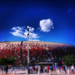 Photo taken at FNB Stadium by Adrian G. on 2/2/2013