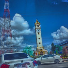 Photo taken at หอนาฬิกาเมืองมหาสารคาม (Maha Sarakham Clock Tower) by Natchanon I. on 8/13/2015
