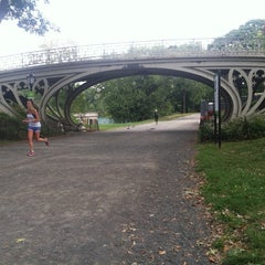 Photo taken at Central Park - Gothic Bridge by Robin D. on 9/20/2014