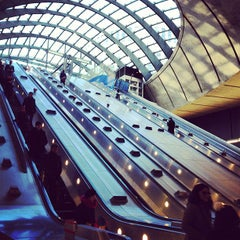 Photo taken at Canary Wharf London Underground Station by Misha C. on 12/12/2012