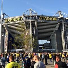 Photo taken at Brøndby Stadion by Tobias V. on 5/16/2013