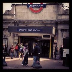 Photo taken at Embankment London Underground Station by Steve W. on 4/7/2013