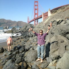 Photo taken at Baker Beach by Ricardo F. on 10/1/2012