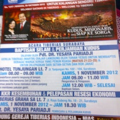 Photo taken at Gereja Tiberias Indonesia - Plaza Central by Lian F. on 10/28/2012