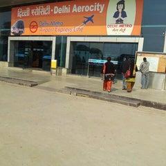 Photo taken at Delhi Aerocity Metro Station by Krishnakumar T. on 11/16/2013