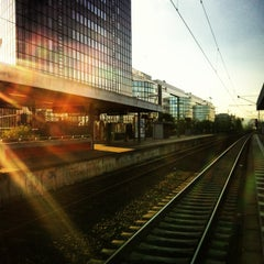 Photo taken at Bahnhof Frankfurt-Niederrad by Vugar G. on 5/5/2013
