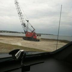 Photo taken at Harkers Island Draw Bridge by Lisa on 1/8/2013