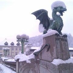 Photo taken at Zmajski most / Dragon Bridge by Joaquim P. on 1/15/2013