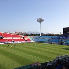 Photo taken at 광양축구전용구장 (Gwangyang Football Stadium) by WS L. on 10/25/2015