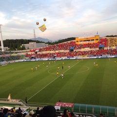 Photo taken at 광양축구전용구장 (Gwangyang Football Stadium) by WS L. on 6/3/2015