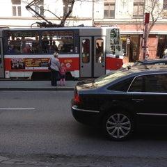 Photo taken at Štěpánská (tram) by Michal B. on 4/24/2013