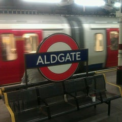 Photo taken at Aldgate London Underground Station by Rich M. on 1/18/2013