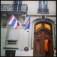 Photo taken at Ambassade Royale de Thaïlande | สถานเอกอัครราชทูตไทย ณ กรุงปารีส | Royal Thai Embassy in Paris by Tonpuen S. on 2/12/2013