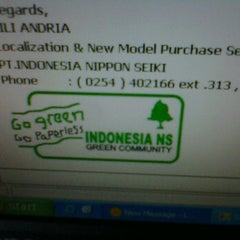 Photo taken at Indonesia Nippon Seiki by Lili A. on 3/28/2012