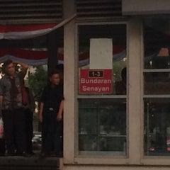 Photo taken at Halte Bunderan Senayan by Nur K. on 9/7/2015