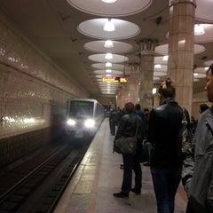 Photo taken at Метро Киевская, Филёвская линия (metro Kiyevskaya, line 4) by Zhenya D. on 4/26/2013