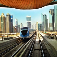 Photo taken at Burj Khalifa / Dubai Mall Metro Station محطة مترو برج خليفة / دبي مول by Shaheen A. on 8/18/2013
