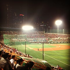 Photo taken at 목동야구장 (Mokdong Baseball Stadium) by Seul P. on 5/9/2012