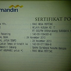 Photo taken at mandiri by rani m. on 11/30/2012