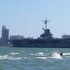 Photo taken at Beach by the USS Lexington by David M. on 9/6/2014