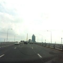 Photo taken at สะพานพระราม 9 (Rama IX Bridge) by Ball P. on 8/22/2012