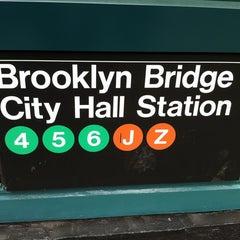 Photo taken at MTA Subway - Brooklyn Bridge/City Hall/Chambers St (J/Z/4/5/6) by Masashi S. on 4/18/2012