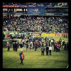 Photo taken at Orlando Stadium by Nkululeko M. on 5/26/2012
