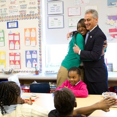 Photo taken at Oscar DePriest Elementary School by Chicago's Mayor on 7/10/2012