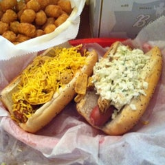 Photo taken at Dirty Frank's Hot Dog Palace by Robby H. on 4/7/2012