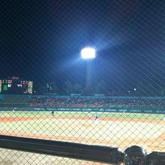 Photo taken at 청주종합운동장 야구장 (Cheongju Baseball Stadium) by Jun H. on 4/20/2012